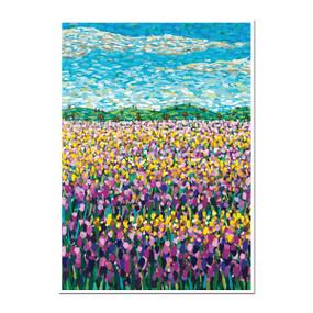 purple and yellow wildflowers greeting card