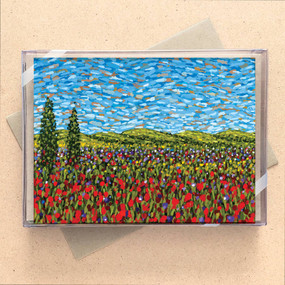 red field wildflowers mini boxed cards