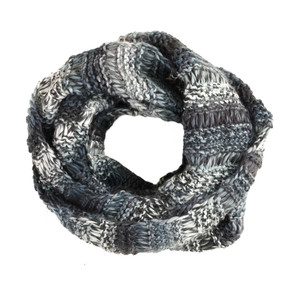 ombre knit infinity scarf, black and white