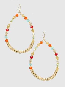 mixed bead teardrop earrings