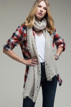 open knit oblong scarf, oatmeal