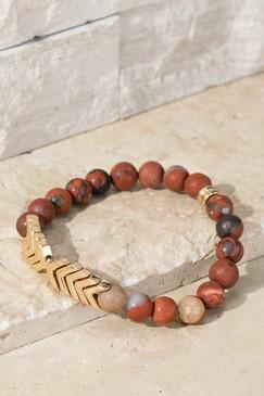 chevron and stone bracelet, mahogany