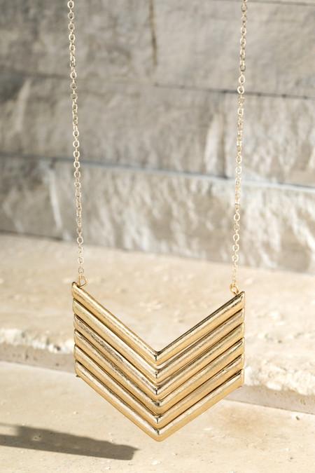 worn metal chevron necklace, gold