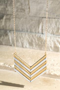 worn metal chevron necklace, multi