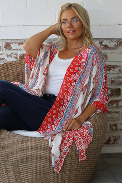 printed patchwork kimono
