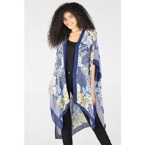 floral print blue kimono