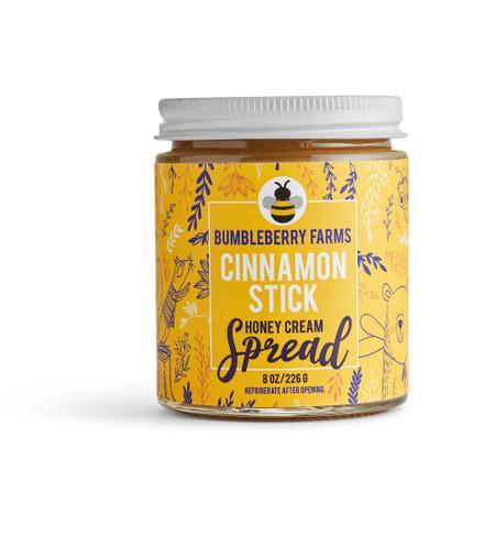 bumbleberry farms honey cream spread, cinnamon  stick