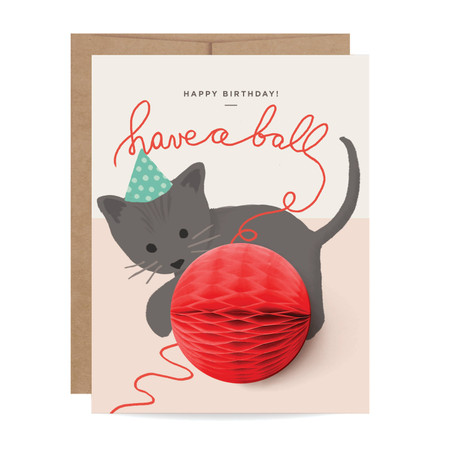 birthday kitten pop-up card