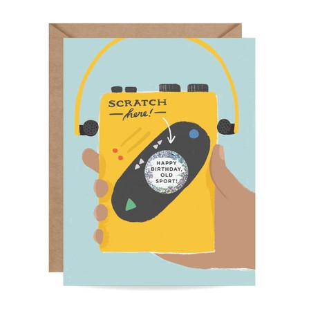 old sport scratch off birthday card