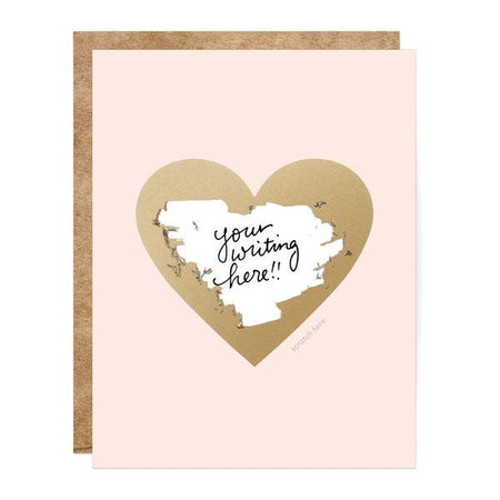 pink and gold heart scratch off card