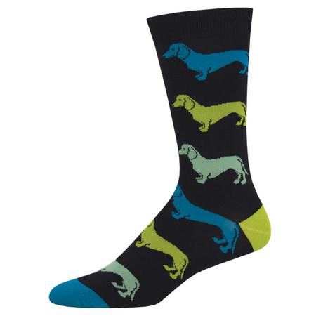 dachshund mens socks black