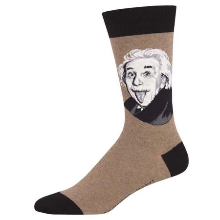 einstein portrait mens socks brown