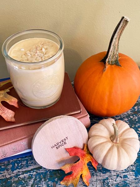 short logo glass jar candle 10 oz., harvest spice