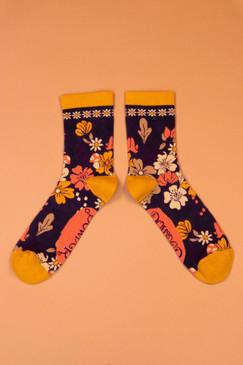 floral ankle socks, navy