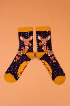 floral deer ankle socks, navy
