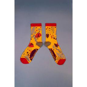 delicate floral ankle socks mustard