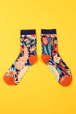 country garden ankle socks navy