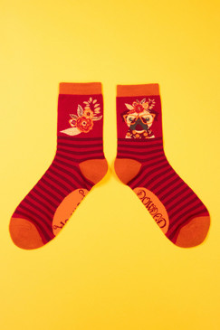 floral pug ankle socks berry