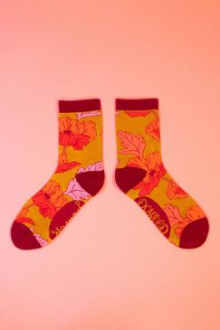 yellow poppy ankle socks