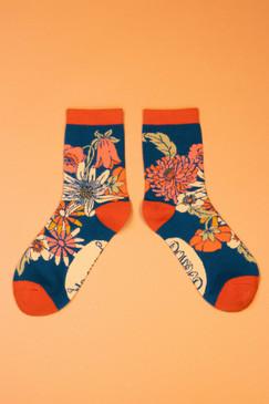 retro meadow ankle socks teal