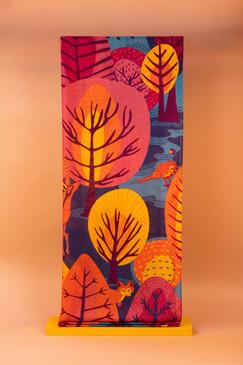 scandi forest print scarf teal