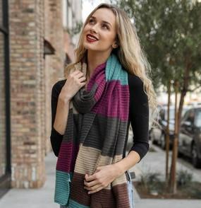 multicolor striped rib scarf