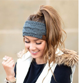 solid cable knit head wrap