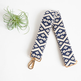 woven purse shoulder strap, navy and cream