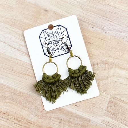 petite pointed fringe macrame earrings, olive