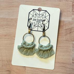 petite round fan macrame earrings, sage