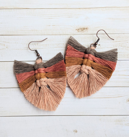 autumn leaves feather macrame earrings, coffee to champagne