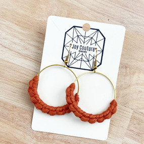 dainty hoop macrame earrings, terra cotta