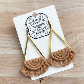 lunar triangle macrame earrings, champagne beige
