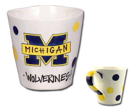 university of michigan handmade handcrafted artisan sculpted  ceramic mug maize blue great graduation gift alumni wolverine