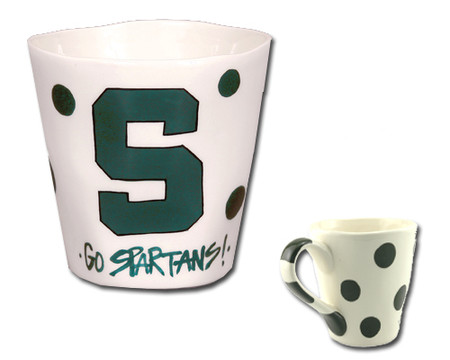 msu michigan state university  handmade handcrafted artisan sculpted  ceramic mug green white great graduation gift alumni spartans