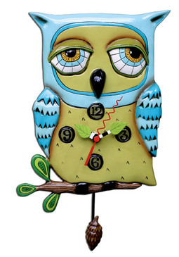 blue owl unique resin pendulum whimsical art wall clock great unique gift for owl lover mom grandma sister girlfriend