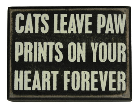 cats leave paw prints on your heart forever rustic wood box sign great gift for cat lover owner