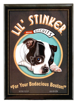 boston terrier retro pet magnet fridge refrigerator funny cute humorous gift for dog owner lover lil little stinker