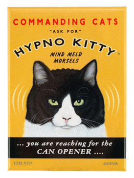 hypno kitty retro pet magnet fridge refrigerator funny cute humorous gift for cat owner feed me now commanding cat