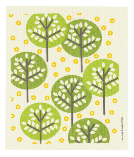 green trees dish cloth kitchen towel cellulose cotton earth friendly sponge alternative unique scandanavian