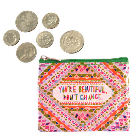 youre you are beautiful dont change zippered coin purse eco friendly recycled wallet blue q
