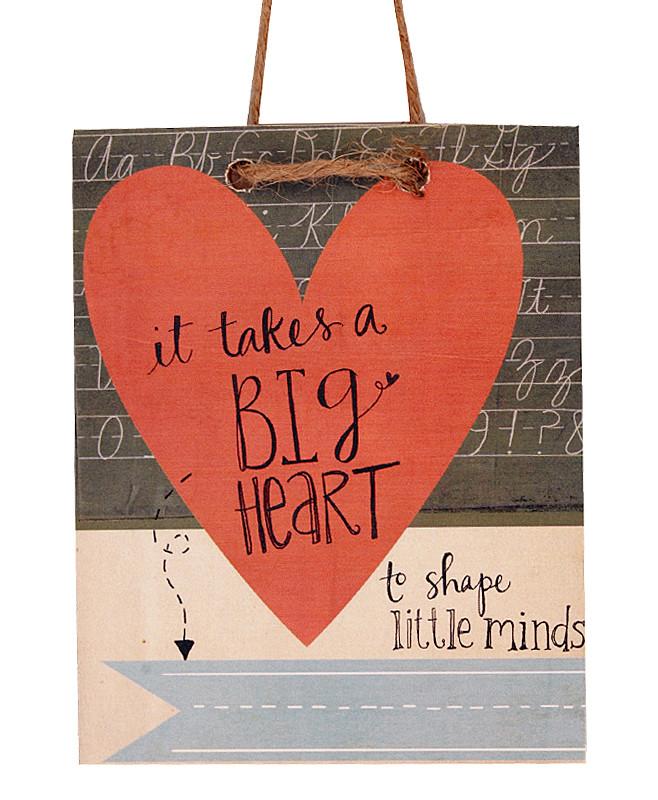Teacher Big Heart Tag Sign