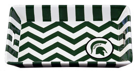 michigan state mi green spartan white chevron ceramic trinket tray dresser gift for graduation fan alumni