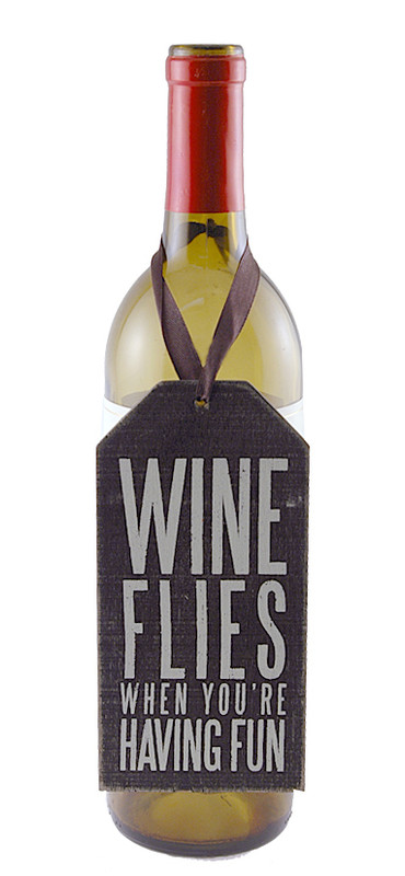 wine flies when youre having fun cute whimsical wine bottle tag hostess girlfriend gift