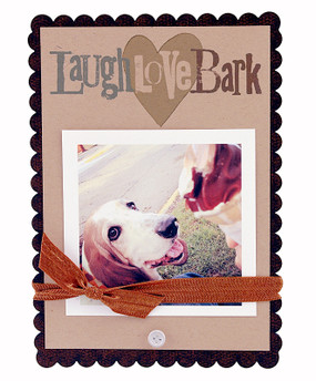 laugh love bark dog heart instagram photo picture scallop frame great gift for dog owner lover