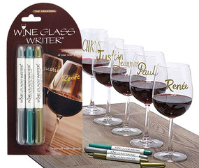 metallic wine glass writer pen set gift for mom wine lover keep track of wine glass wine charm alternative