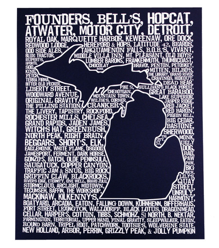 beers of michigan detroit word map art print great michigan gift for beer lover