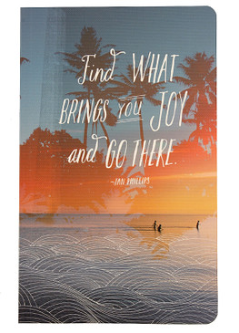 find what brings you joy and go there inspirational journal diary gift for teen tween graduate beach ocean theme blank lined
