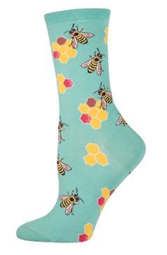 bee honeybee bumblebee girls womens cotton crew socks novelty graphic print gift for mom sister friend seafoam green