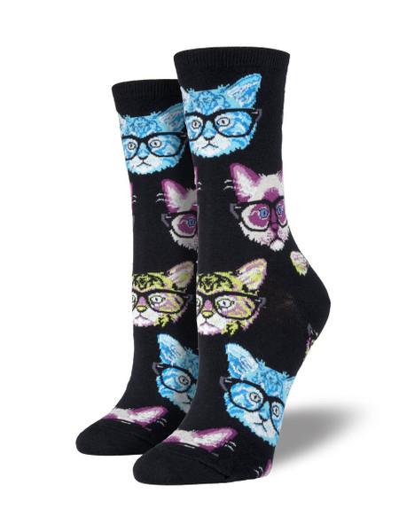 kittenster kitten glasses hipster whimsical cotton crew socks for girls women teen